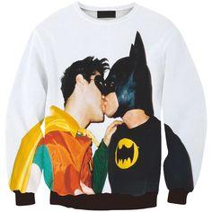 european man hoody BATMAN & ROBIN kiss print sweatshirt lover couple cartoon 3d sweats casual oullover top