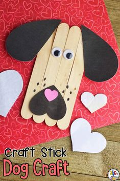 This Valentine's Day Dog Craft with printable template is an easy craft for kids to create and a fun way to develop fine motor skills.