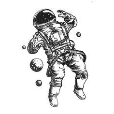 Peças Handmade, inspiradas nas cores, formas, perfumes, sabores e amores que experimento todos os dias. Autênticas e exclusivas como Nós! Space Drawings, Tattoo Design Drawings, Art Drawings Sketches, Tattoo Sketches, Tattoo Designs, Astronaut Drawing, Astronaut Illustration, Astronaut Tattoo, Trendy Tattoos