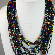Multi Color Strand Masaai Bead Necklace 707-1-91