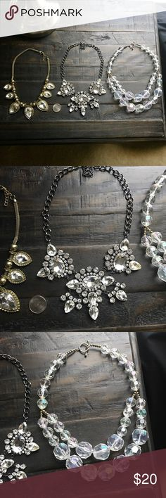 Crystal/Bling Statement Necklace Bundle Middle one from target paid $30...all worn. Large and beautiful. Jewelry Necklaces