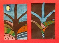 Artsonia Art Museum :: Puzzle Trees 3rd grade