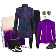"""Voodoo jacket and Freshplum violet silk blouse - ETCETERA Fall"" by biseletcetera on Polyvore"