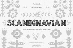 I'm super-pleased to introduce you my new font familyScandinavianinspired by nordic folklor and traditional finnish and swedish folk art. Scandinavian font family include three fonts: decorative, black and symbols. You can mix & match them to achieve interesting results.