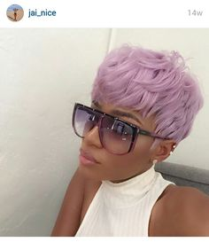 black girl with colored hair colorful hair lavender hair purple hair inspirat black girl with colored hair colorful hair lavender hair purple hair inspiration short haircut 27 Piece Hairstyles, Dope Hairstyles, Black Girls Hairstyles, Weave Hairstyles, Pretty Hairstyles, Hairstyle Ideas, Short Pixie, Short Hair Cuts, Hair Colorful