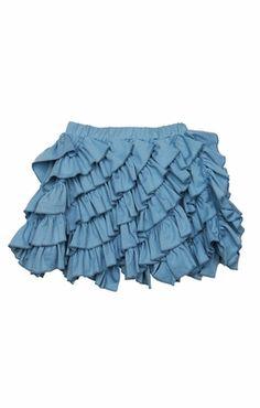 Lemon Loves Lime Girls Ruffle Cabbage Skirt - Blue Forget Me Not