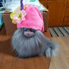 Winter Cat, Gnome Statues, Gnome Hat, Stuffed Animal Cat, Knitted Cat, Grey Cats, Christmas Cats, Acrylic Art, Cat Toys