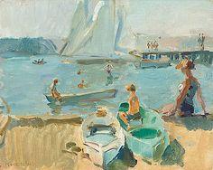 Alongside the beach of Portorose, Italy - Isaac Lazarus Israels | Studio 2000