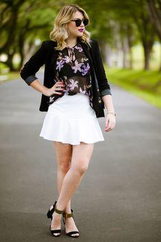 Look do dia: saia branca + blazer preto