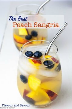 The easiest (and the best) Peach Sangria recipe ever! Fresh peaches gently flavour Prosecco or your favourite sparkling white wine. Not too sweet! Dice fresh peaches, soak in Triple Sec and lemon juice, top with ice and Prosecco and serve. Best Peach Sangria Recipe, White Peach Sangria, Red Sangria Recipes, White Wine Sangria, Cocktail Recipes, Smoothie Recipes, Drink Recipes, Margarita Recipes, Smoothies