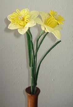 Daffodils for Spring Dee's Beaded Flowers por DeesBeadedFlowers