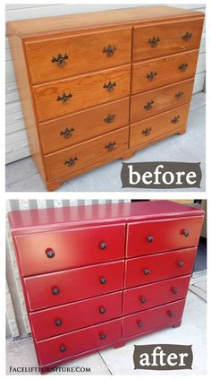 Barn Red Dresser with Black Glaze ~ Before & After. How the simplest piece can be transformed to make a statement. From Facelift Furniture's DIY Blog.