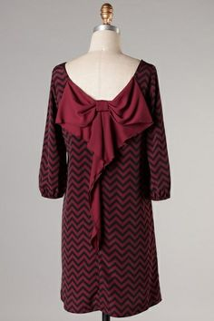 $32.95 Bow Back Dress Crimson Black - Kelly Brett Boutique