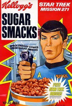 "Spock on Sugar Smacks cereal box ""Star Trek Mission Leonard Nimoy, Retro Ads, Vintage Ads, Vintage Food, Retro Food, Vintage Advertisements, Retro Advertising, Vintage Posters, School Advertising"