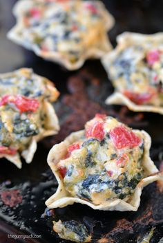 Spinach Artichoke Dip Bites Recipe: A fabulous, bite sized appetizer that is perfect for parties! #client