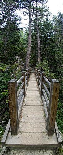 Puente en el Parque Nacional de Aigüestortes. Estany De Sant Maurici