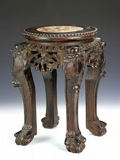 Chinese Hardwood Stand with Marble Top 19th cent.