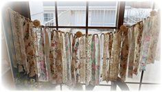 Anthropologie Inspired Vintage Lace Wedding Garland Garden Roses Cream Rosettes Pearls Shower Decoration Banner