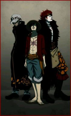 law, luffy and kid