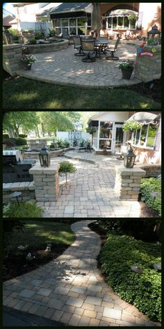Lovely backyard living accented with paver stone patio with small water feature that is built-into a retaining wall. This backyard oasis welcomes you with a sophisticated stone pillar entrance.