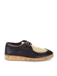 BURBERRY PRORSUM  Leather and Raffia Oxfords