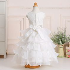 Retail Newest Style Children Girl Christmas Party dress Girl flower dress 5 layered with bow free shipping L1200