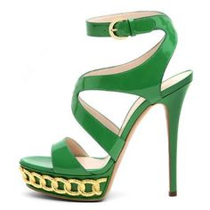 Casadei 2011 Spring Summer Collection green Chain Sandals @ Beauty N Sole Fab Shoes, Pretty Shoes, Crazy Shoes, Beautiful Shoes, Cute Shoes, Me Too Shoes, Shoes Heels, Pumps, Stilettos