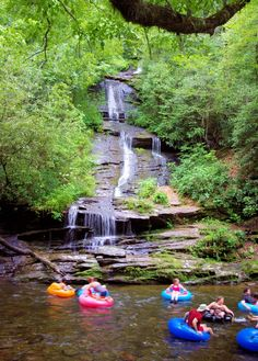 Toms Branch Falls on Deep Creek in the Great Smoky Mountains National Park. Looks like tubing fun to me.