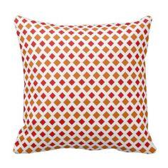 Red and Orange Diamond Pillow Orange Throw Pillows, Decorative Throw Pillows, Poufs, Ottomans, Diamond, Decoration, Art, Texture, Cushions