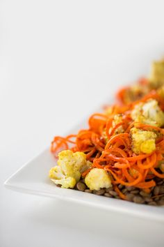 Curried Cauliflower and Lentil Salad with Carrot Noodles and Honey-Cumin Dressing