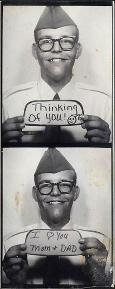 A soldier tells his folks he loves them via photo booth technology.
