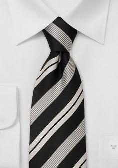 $24.90 Contemporary Italian Striped Tie in Black, White, and Silver