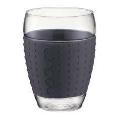 Bodum 15-ounce Pavina Glasses with Silicone Grip, Dark Grey, Set of 2 by Bodum. $35.99. Perfect for serving juice, beer, coffee or any other beverage or dessert in a vibrant presentation. Made of borosilicate glass and silicone. Two 0.45-litre/15-ounce glasses with silicone band grips included. Available in grey.. Glasses can be used for both hot and cold beverages and all parts are dishwasher safe. These beautiful glasses from Bodum not only provide an attractive way to serve be...