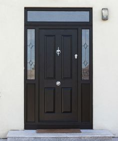Black Front Door with nice glass side panels. Looks Great, Secure, Energy Efficiency