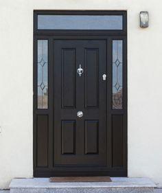 Black Front Door with nice glass side panels. Looks Great, Secure, Energy Efficiency Front Door Entrance, House Front Door, Front Door Decor, Glass Panel Door, Glass Front Door, Sliding Glass Door, Black Composite Front Door, Black Front Doors, Front Door Design