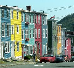 Painted fishermen's cottages in St. Johns, Canada