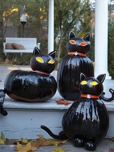 Pumpkin cats (for out by the gravestones)