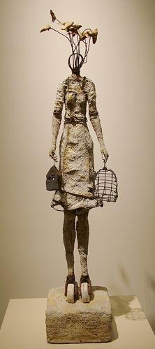 brown - woman with birds. bird house and bird cage - sculpture - Johan Hagaman Sculptures Céramiques, Sculpture Art, Creation Art, Atelier D Art, Inspiration Art, Mixed Media Sculpture, Art Antique, Ceramic Figures, Paperclay