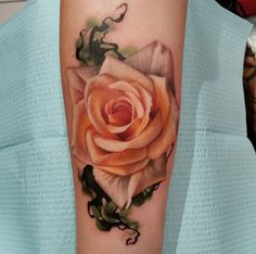 Dreamy pale Rose flower tattoo. Click to discover more Sensational Flower Tattoos.