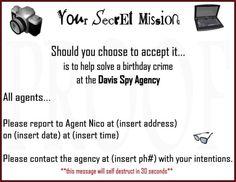 Birthday Invitation - Detective Party
