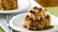 "A yummy Bisquick® batter, apples and cinnamon bake up to make impossibly delicious little ""apple pies"" topped with whipped cream, caramel, pecans and sea salt. You won't miss the traditional pie crust!"