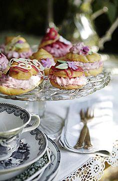 Garden tea party . pretty cream puffs