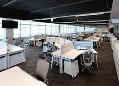 Steven Leach Group and Morphosis designed the research and development center offices for Kolon Group, a plastics material company located in Seoul, South Open Office, Research And Development, Auditorium, Working Area, Open Plan, Office Furniture, Offices, Seoul, Interior Design