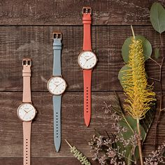 Wine and Blooms. The Vineyard Collection dresses the Arrow Leather in a rose gold case, cream dial, and pastel leather bands, and while they might be demure, don't you dare call 'em soft. Women's Watches, Dress Collection, Arrow, Vineyard, Bands, Pastel, Rose Gold, Wine, Cream