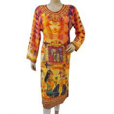 Indian Pictorial Digital Print Kurti Full Sleeves Georgette Tunic Clothing Sz M
