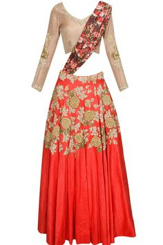 Red rose embroidered motifs flared lehenga set with mouse colour blouse available only at Pernia's Pop Up Shop.