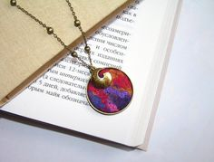 Felted Jewelry Round Pendant red violet gold pink by lannarfelt, $25.00