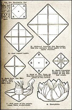 I have a fun aunt-in-law who posts a great variety of wonderful things especially for homemakers. I thought this Victorian napkin folding tute looked fun. Cloth Napkins, Paper Napkins, Folding Napkins, Napkin Folding Flower, Easy Napkin Folding, Napkin Rose, Victorian Napkins, Serviettes Roses, Diy And Crafts