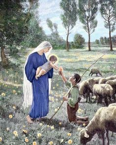 A shepherd boy kneels and presents a flower to the child Jesus while He is held by His mother, the Virgin Mary. Mother Of Christ, Blessed Mother Mary, Blessed Virgin Mary, Catholic Art, Religious Art, Rosary Catholic, Holy Mary, Mary I, Jesus Jose Y Maria