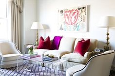 traditional living space with color and art. Lilly Bunn Interiors